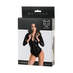 Боді Glossy Alessia з матеріалу Wetlook на блискавки, чорний