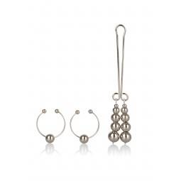 Затискачі для сосків і клітора - CalExotics Intimate Play Nipple & Clitoral Body Jewelry Silver