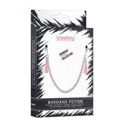 Затискачі для сосків - Bondage Fetish Tassel Nipple Clamp With Chain Pink