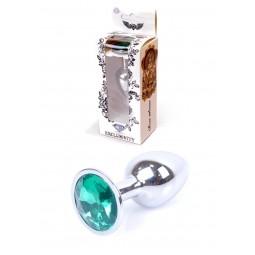Анальна пробка - Jewellery Silver Plug Green