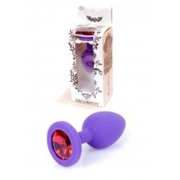 Анальна пробка - Silikon Purple Plug Small Red Diamond