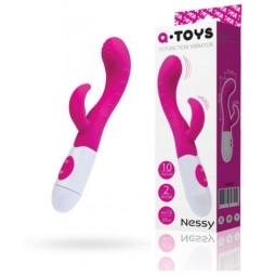 Вібратор з кліторальний стимулятором Toyfa A-Toys Nessy, силікон, рожевий, 20 см