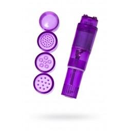 Міні-вібратор Erotist Adult Toys з насадками, ABS пластик, фіолетовий, 11 см